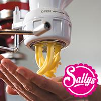 Sally Paket 2 KitchenAid + Röhrennudelvorsatz + Spiralschneider + Flexi-Rührer + 3 L Edelstahl-Schüssel