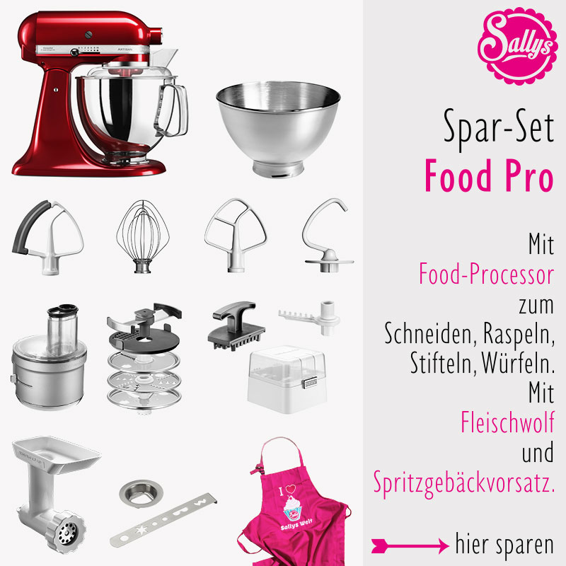 KitchenAid Artisan 4,8 Liter Set mit Food Processor und Fleischwolf