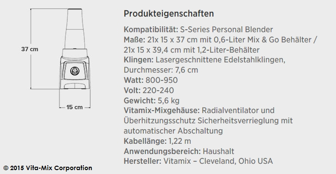 Die Produkteigenschaften des Vitamix S30 Standmixers