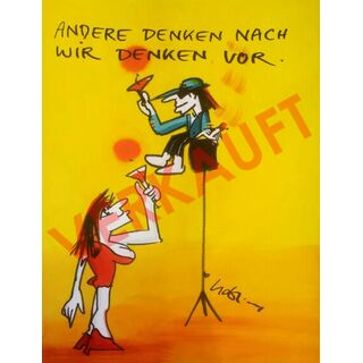 Udo Lindenberg Original Aquarell Andere Denken Nach Wir Denken Vor