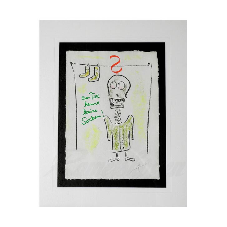 e51bdb552241fe Helge Schneider - Original Kohlezeichnung Der Tod kennt keine Socken