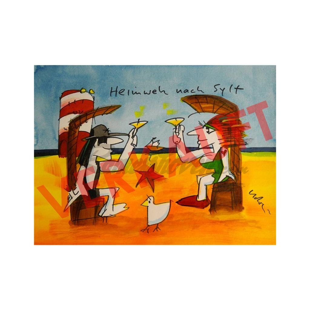 Udo Lindenberg Original Aquarell 2016 Heimweh Nach Sylt Ramershov
